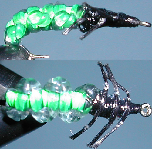 Caddis Rockworm green trout fly