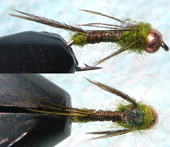Copperbead Micro Mayfly olive trout fly