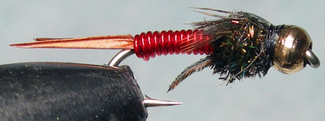 Copperjohn red Goldbead trout fly