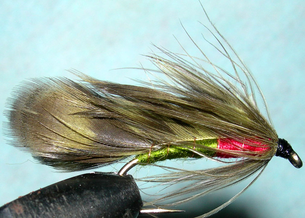 Featherwing Matuka olive&red trout fly