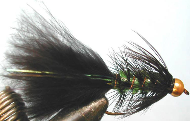 Flashabugger 1XL black&green Goldbead trout fly