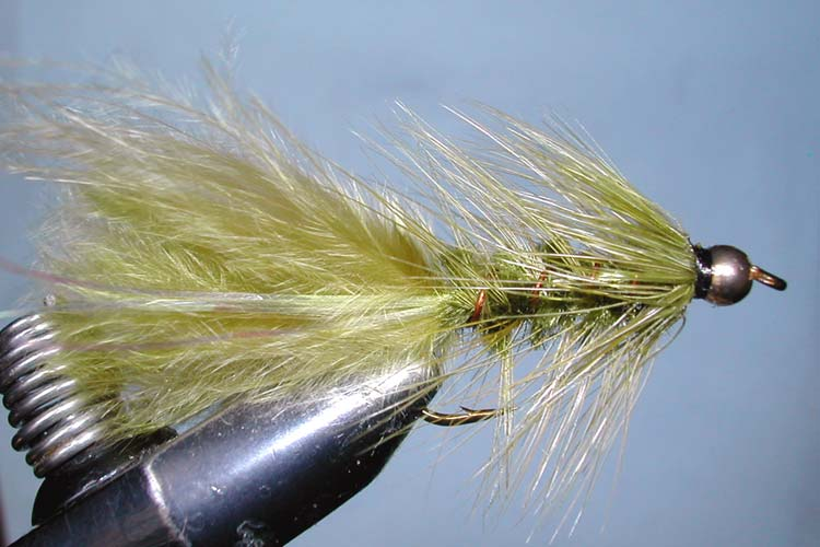 Flashabugger 1XL olive&olive Goldbead trout fly