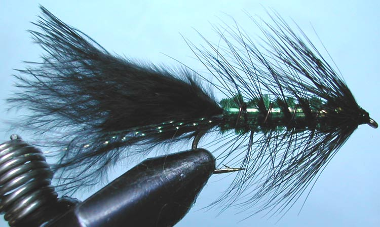 Flashabugger 3XL black&green trout fly