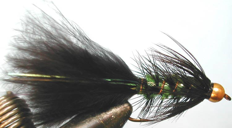 Flashabugger 3XL black&green Goldbead trout fly