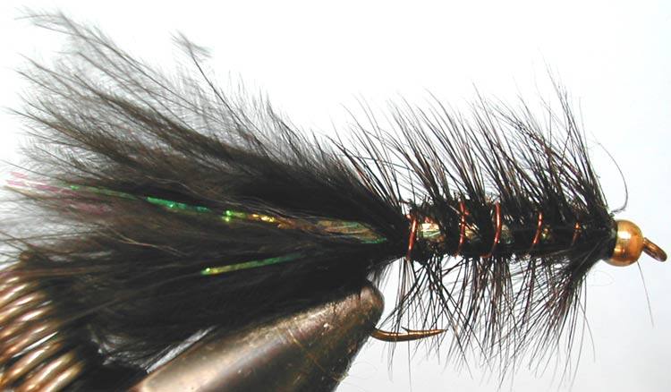 Flashabugger 3XL black&peacock Goldbead trout fly
