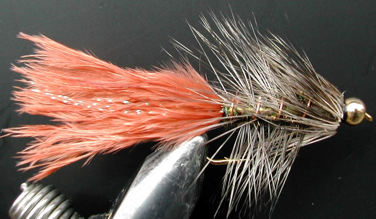 Flashabugger 3XL browngrizzlypeacock Goldbead trout fly