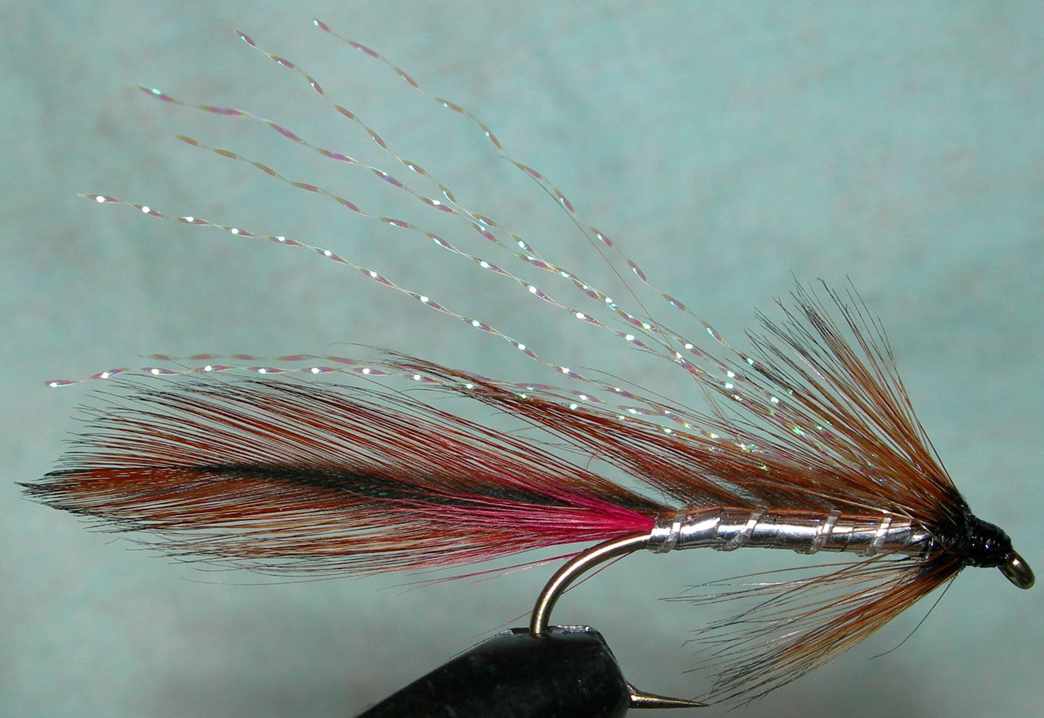 Ginger Mick silverbody KrystalFlash trout fly