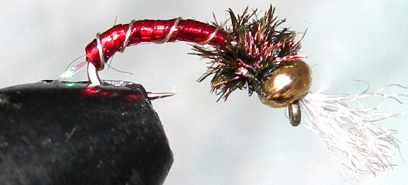 Goldbead Bloodworm trout fly