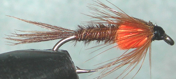 Pheasant Tail fluorescent orange Thorax trout fly