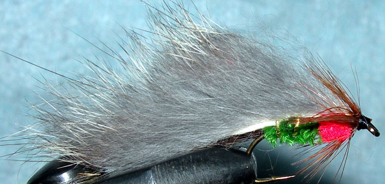 Rabbit green&red trout fly