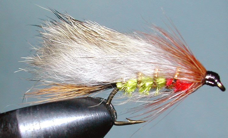 Rabbit lightolive&red trout fly