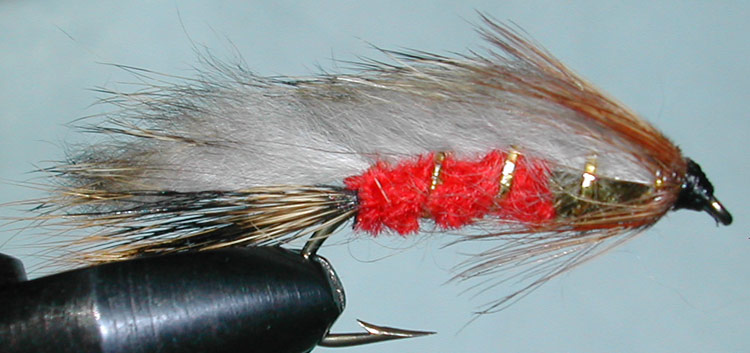 Rabbit red&olive trout fly