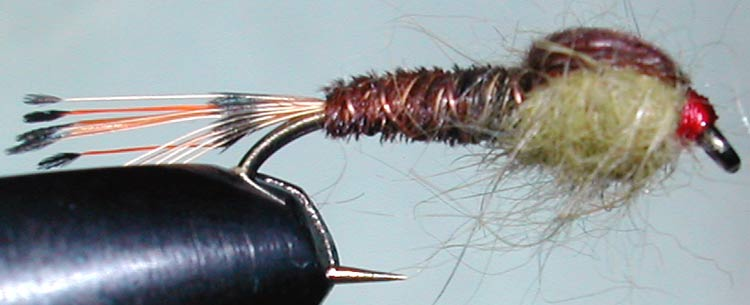 Stone brown&olive trout fly
