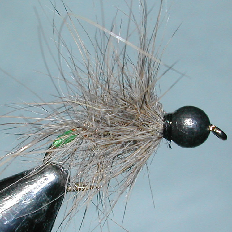 Tungsten Blackbead Shaggy green trout fly