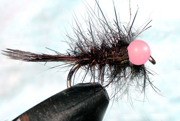 Tungsten FluoroPinkbead Hare&Copper black trout fly