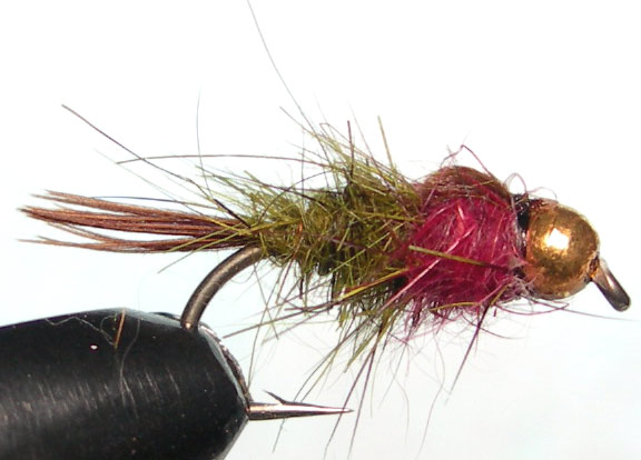 Tungsten Goldbead Olive&Claret trout fly