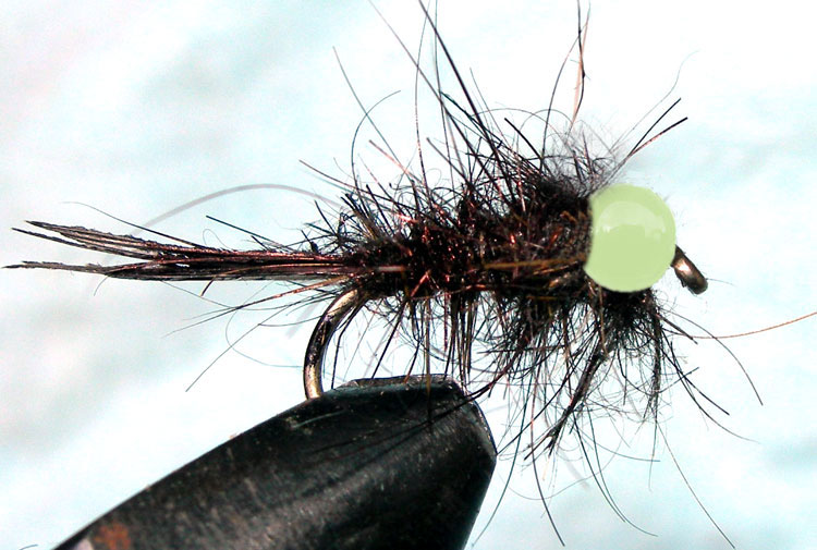 Tungsten Lumobead Hare&Copper black trout fly
