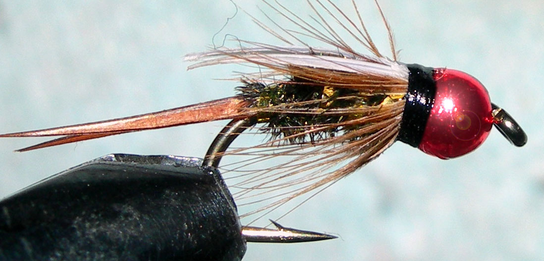 Tungsten Metallic Redbead Prince trout fly