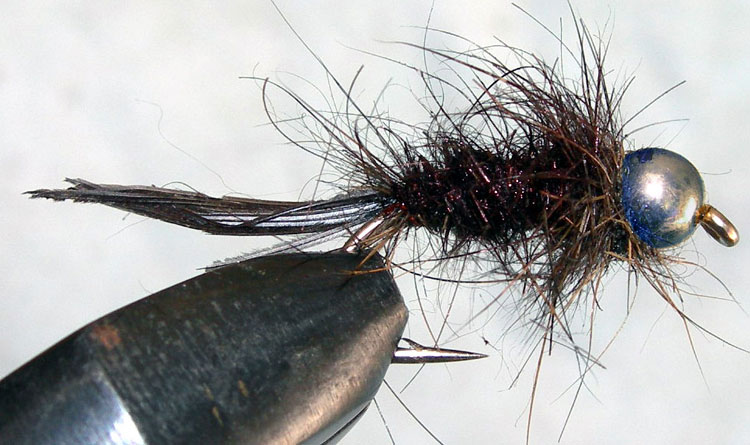 Tungsten Nickelbead Hare&Copper black trout fly