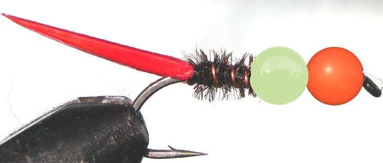 Tungsten Orange&Lumo peacock trout fly