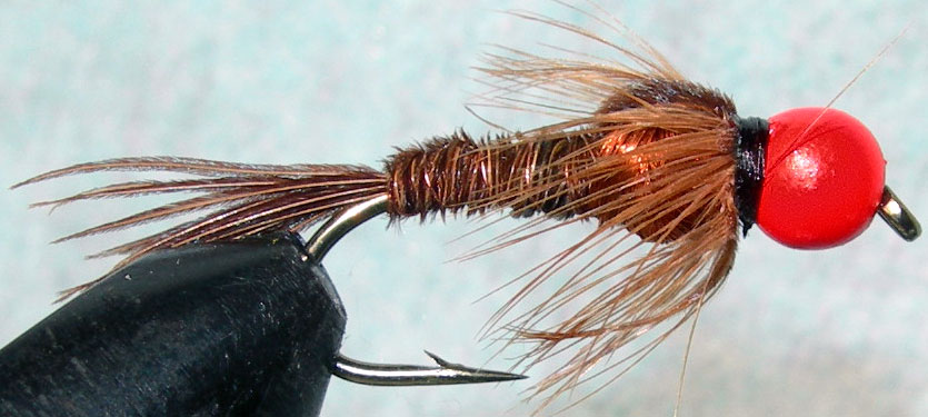 Tungsten Orangebead Pheasant Tail copper thorax trout fly