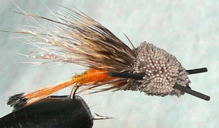 Turks Tarantula orange blacklegs trout fly