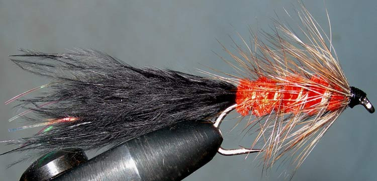 Woolly Bugger 2XL black&grizzly&burntorange trout fly