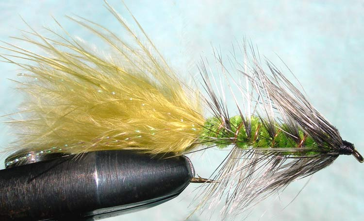 Woolly Bugger 3XL grizzly&insectgreen trout fly