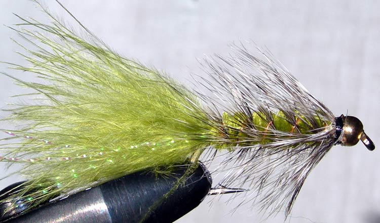 Woolly Bugger 3XL grizzly&olive Goldbead trout fly