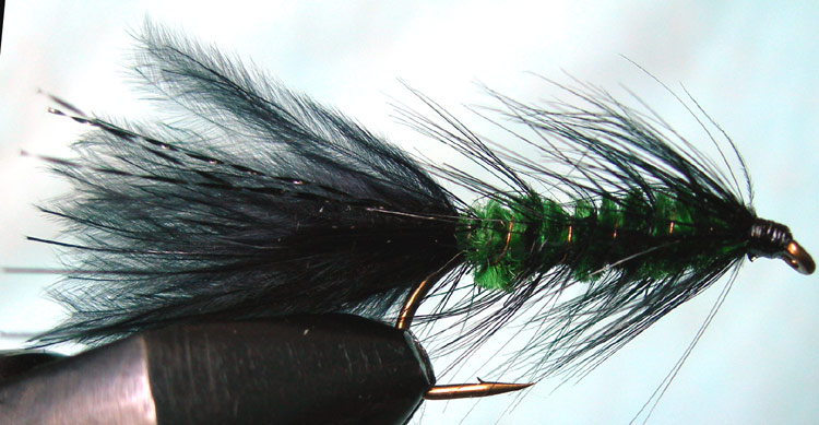 Woolly Bugger black&green trout fly