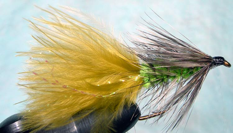 Woolly Bugger grizzly&insectgreen trout fly
