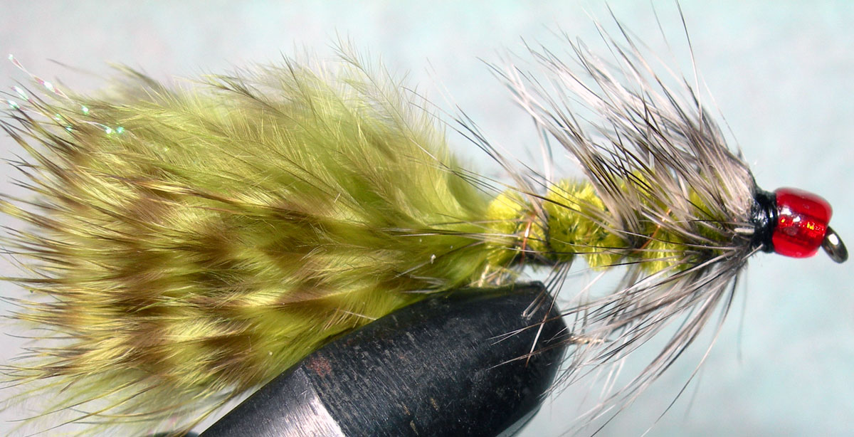 Woolly Bugger grizzly&olive Redbead trout fly